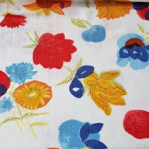 Vintage Woven Cotton Floral Fabric 2y X 34""